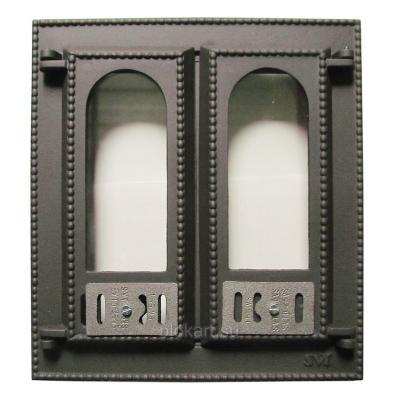 Дверца каминная со стеклом 408 SVT, 2-х створчатая, (фин)